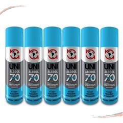 6 Alcool Aerossol Spray 70º INPM Multiuso Uni1000 - 300ml