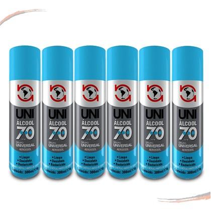 Alcool 70% Em Spray Multiuso Higienizador Uni1000 300ML 6Und