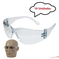 Kit 10 óculos Proteção Segurança Epi Croma Incolor Promoção