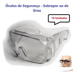 Kit 10 Óculos Segurança Proteção Cristal Sobrepor Ao De Grau