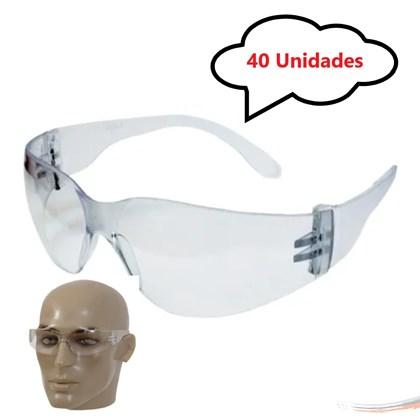 Kit 40 óculos Proteção Segurança Epi Croma Incolor Promoção