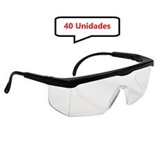 Kit 40 óculos Protetor Epi Incolor Haste Regulagem Com CA