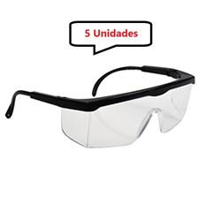 Kit 5 óculos Proteção Segurança Incolor Epi 1° Linha Ajuste