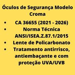 Óculos Segurança Epi Croma Incolor Proteção Trabalho Ca36655